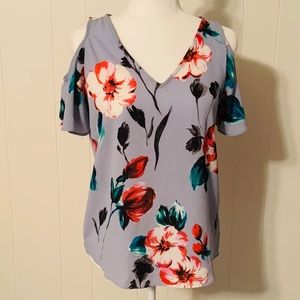 c & e Tops - c&e Cold Shoulder Blue Floral Blouse